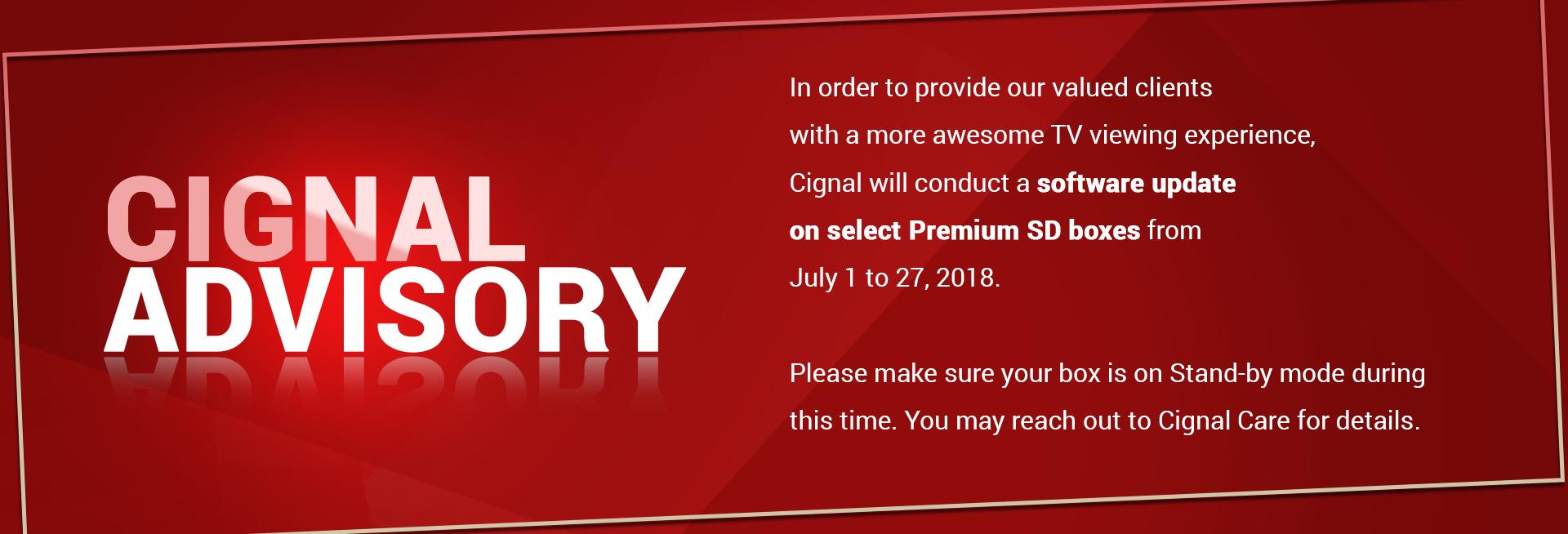 Cignal Advisory Software Update