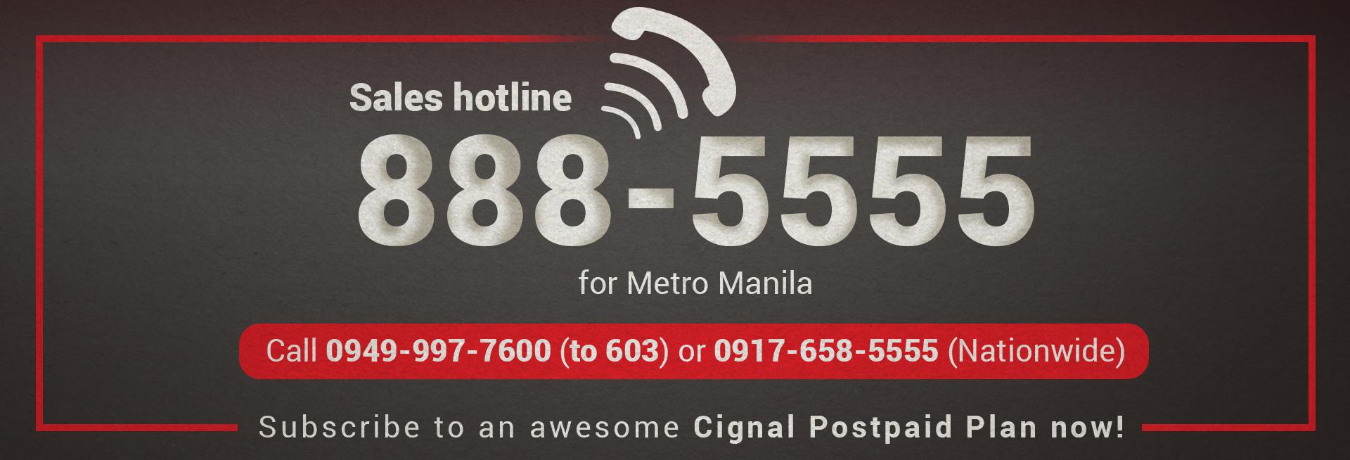 Sales Hotline Banner