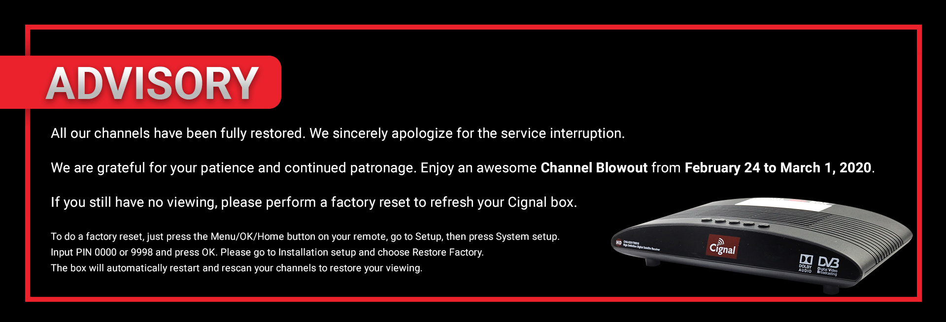 Cignal TV Advisory February 2020