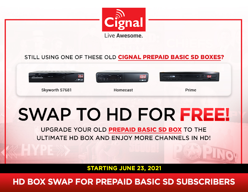 PREPAID BASIC SD TO PREPAID ULTIMATE HD BOX SWAPPING PROGRAM