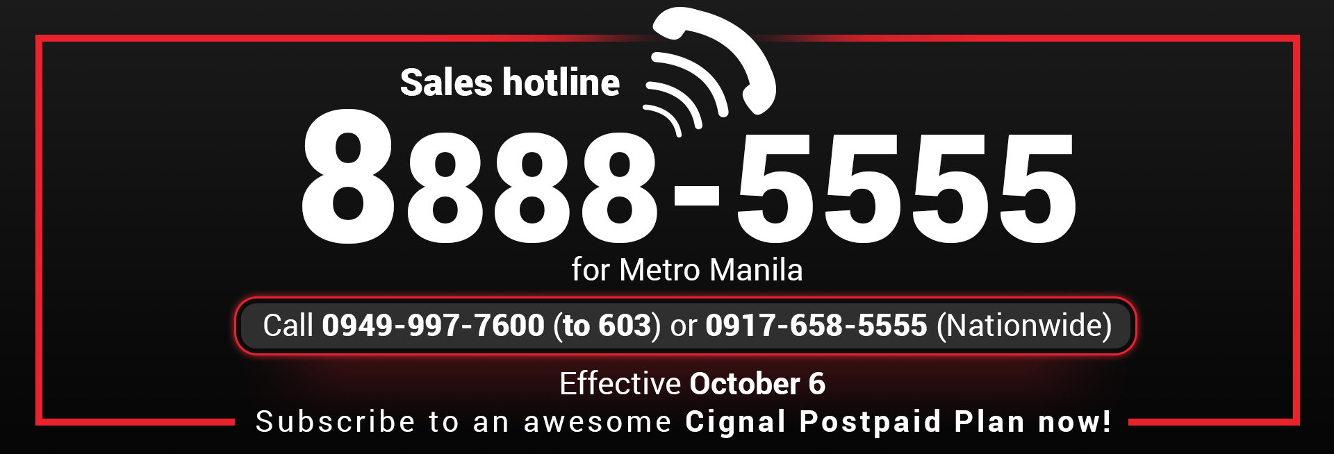 Sales Hotline Banner