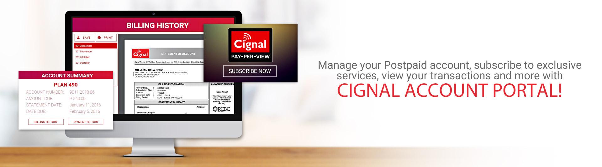 CIGNAL TV - Account Portal